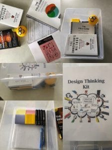 Photos of the design kit tote and contents