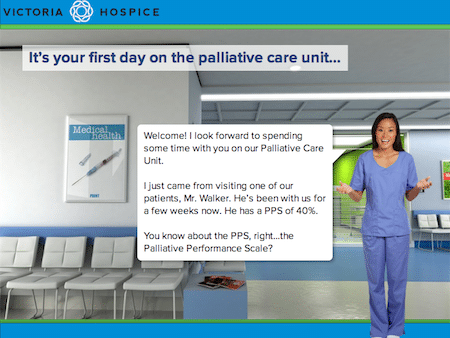 Page where a nurse-like character welcomes the learner to the Palliative Care Unit