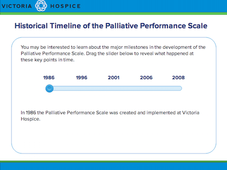 Timeline slide with a slider bar to show key historical timeline dates of the PPS