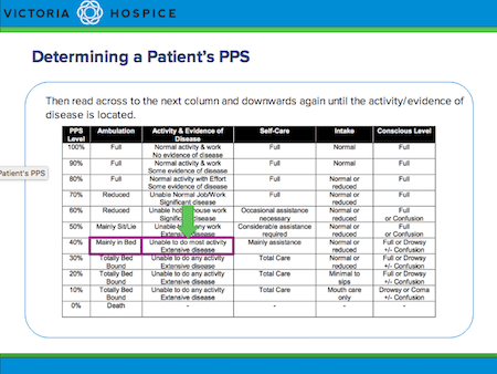 Static screenshot showing part of an animated slide which teaches learners how to use the PPS