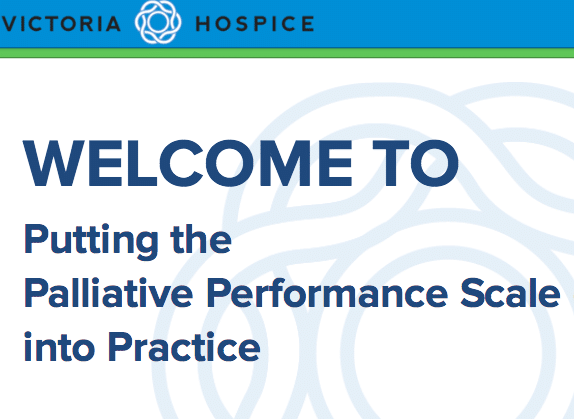 E-learning course example: Palliative Performance Scale