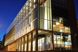 Photo of the UBC Okanagan Administration building at night
